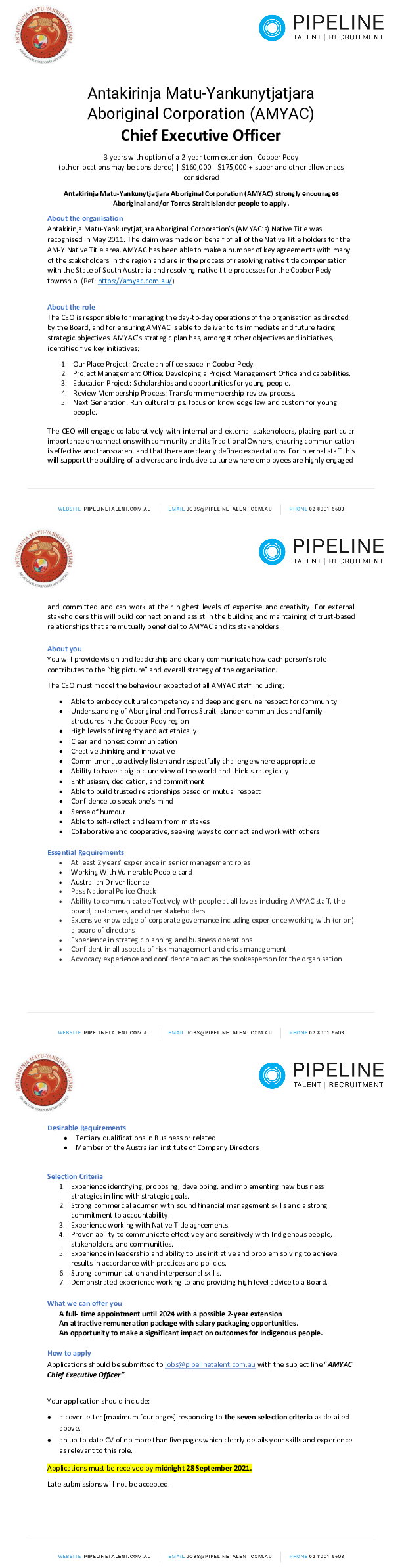 Pipeline Talent - Job Ad - AMYAC Chief Executive Officer_final_V2